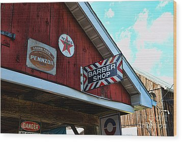 Barber - Old Barber Shop Sign Wood Print by Paul Ward