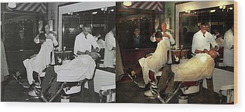 Wood Print featuring the photograph Barber - A Time Honored Tradition 1941 - Side By Side by Mike Savad