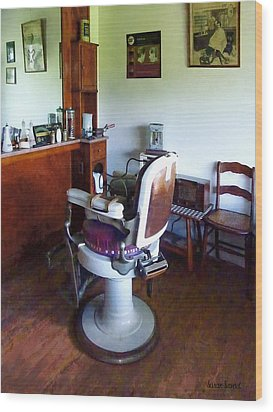 Barber - Old-fashioned Barber Chair Wood Print by Susan Savad