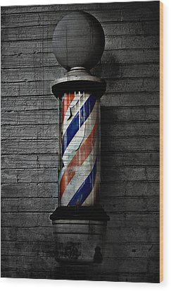 Barber Pole Blues  Wood Print by Jerry Cordeiro