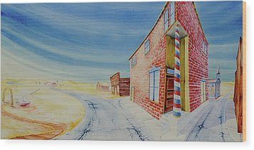Wood Print featuring the painting Barber Pole by Scott Kirby