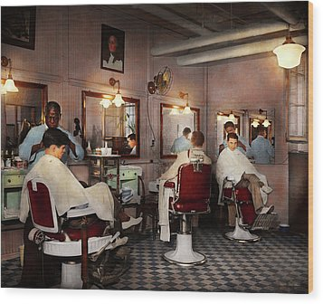 Wood Print featuring the photograph Barber - Senators-only Barbershop 1937 by Mike Savad
