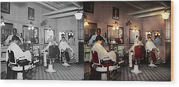 Wood Print featuring the photograph Barber - Senators-only Barbershop 1937 - Side By Side by Mike Savad