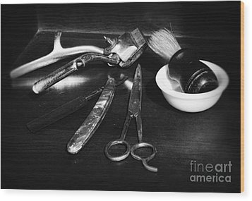 Barber - Things In A Barber Shop - Black And White Wood Print by Paul Ward