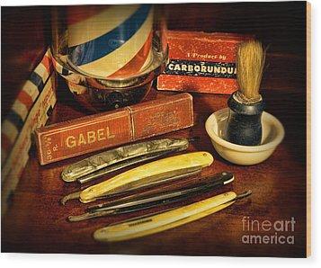 Barber - Vintage Barber Wood Print by Paul Ward