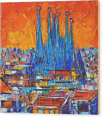 Barcelona Abstract Cityscape 7 - Sagrada Familia Wood Print