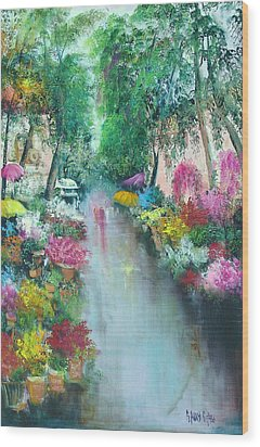 Barcelona Flower Market Wood Print by Sally Seago