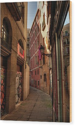 Wood Print featuring the photograph Barcelona - Gothic Quarter 003 by Lance Vaughn
