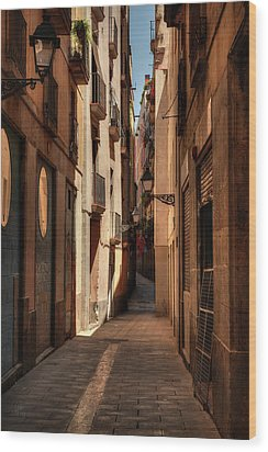 Wood Print featuring the photograph Barcelona - Gothic Quarter 004 by Lance Vaughn