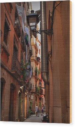 Wood Print featuring the photograph Barcelona - Gothic Quarter 002 by Lance Vaughn