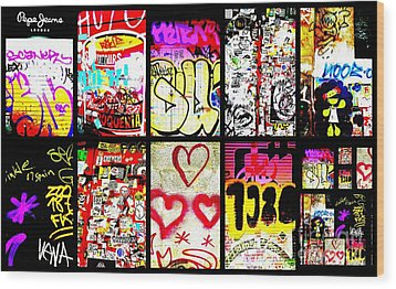 Barcelona Graffiti Wall  Wood Print by Funkpix Photo Hunter