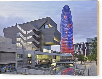 Barcelona Modern Architecture Wood Print by Marek Stepan