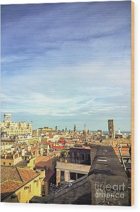 Wood Print featuring the photograph Barcelona Rooftops by Colleen Kammerer
