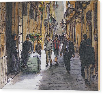 Barcelona Street Sketch Wood Print by Randy Sprout