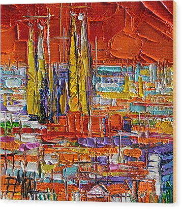 Barcelona View From Parc Guell - Abstract Miniature Wood Print