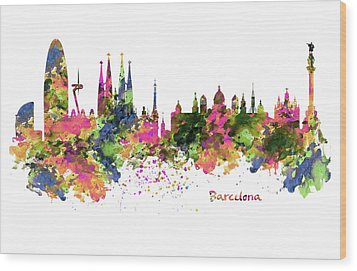 Barcelona Watercolor Skyline Wood Print by Marian Voicu