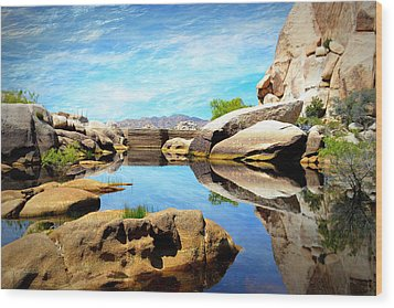 Wood Print featuring the photograph Barker Dam - Joshua Tree National Park by Glenn McCarthy Art and Photography
