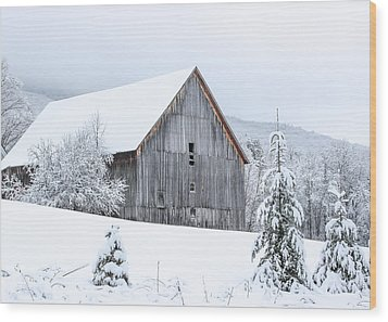 Barn After Snow Wood Print