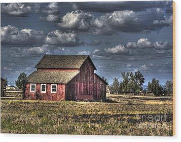 Barn After Storm Wood Print