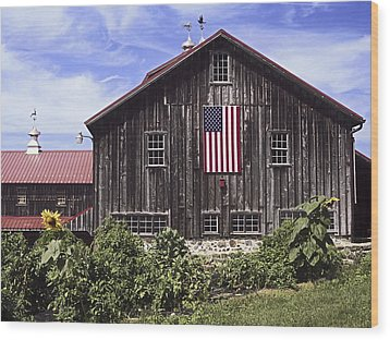 Barn And American Flag Wood Print by Sally Weigand