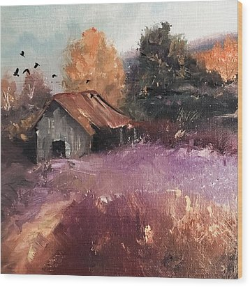 Barn And Birds  Wood Print by Michele Carter