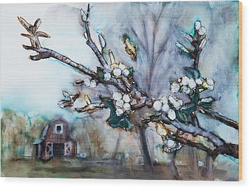 Barn And Blossoms Wood Print by Tara Thelen