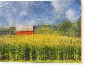 Wood Print featuring the digital art Barn And Cornfield by Francesa Miller