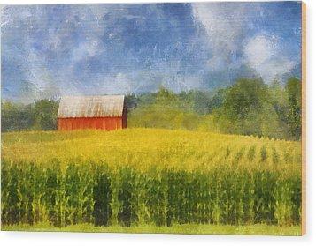 Barn And Cornfield Wood Print by Francesa Miller