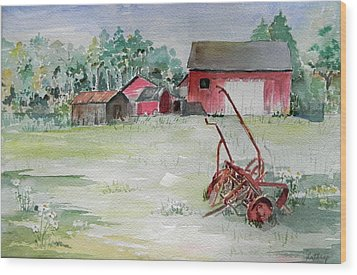Barn And Cultivator Wood Print by Christine Lathrop