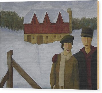 Wood Print featuring the painting Barn And Nobles by Glenn Quist