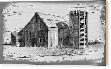 Barn And Silo Distressed Version Wood Print by Joyce Geleynse