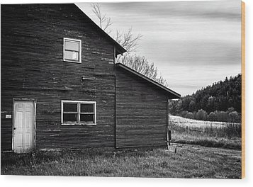 Barn And Wildflowers In Black And White Wood Print by Greg Mimbs