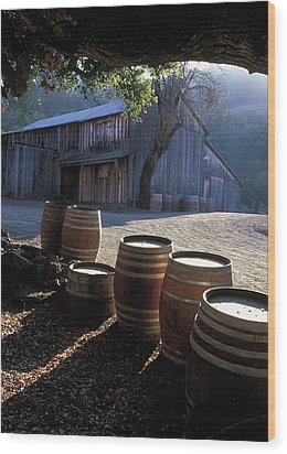 Barn And Wine Barrels Wood Print by Kathy Yates