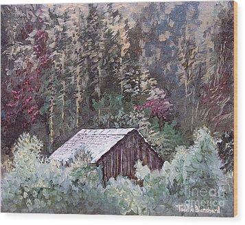 Barn At Cades Cove Wood Print by Todd A Blanchard