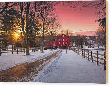 Barn At Sunset  Wood Print by Emmanuel Panagiotakis