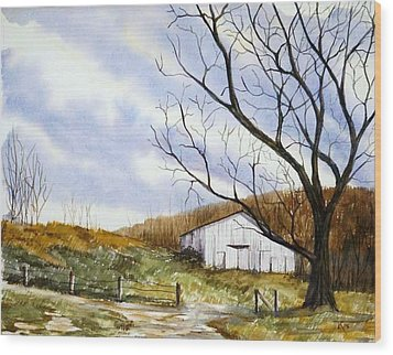 Barn At The Stage Stop Wood Print by Travis Kelley