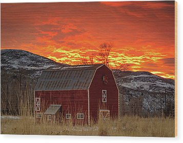 Wood Print featuring the photograph Barn Burner Sunset. by Johnny Adolphson