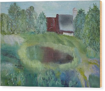 Barn By Pond Wood Print