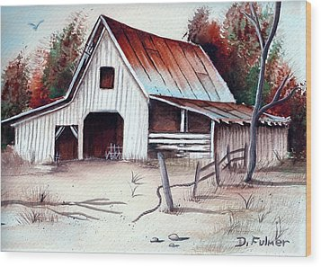 Wood Print featuring the painting Barn by Denise Fulmer