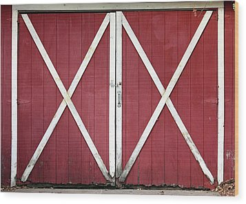 Wood Print featuring the photograph Red Barn Doors by Sheila Brown