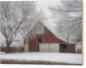 Barn Fog And Hoarfrost Wood Print by Fred Lassmann