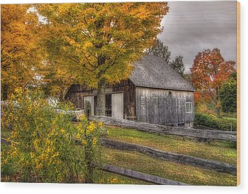 Barn In Autumn Wood Print by Joann Vitali