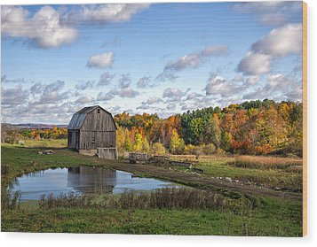 Wood Print featuring the photograph Barn In Autumn by Mark Papke