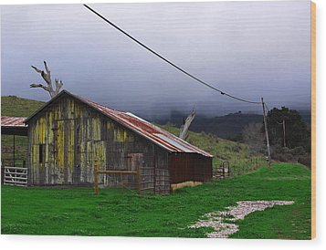 Barn In Rain Wood Print by Viktor Savchenko