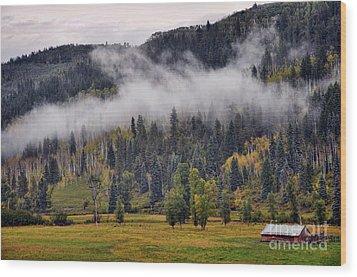 Barn In The Mist Wood Print