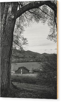 Barn In The Valley In Black And White Wood Print by Greg Mimbs