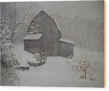 Barn In Up State New York Wood Print