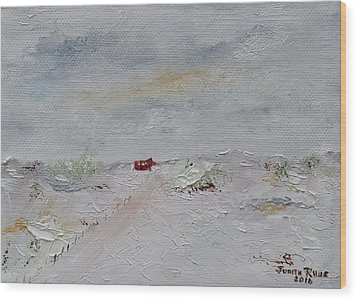 Wood Print featuring the painting Barn In Winter by Judith Rhue
