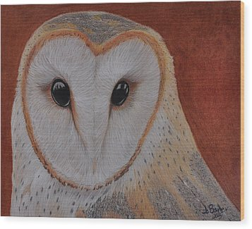 Wood Print featuring the drawing Barn Owl by Jo Baner