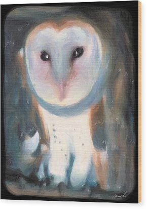 Barn Owl Wood Print by The Art of Marsha Charlebois